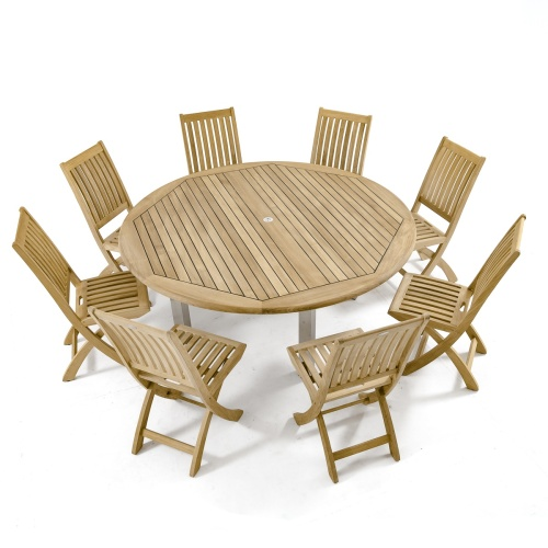 large round teakwood table and chair set 8