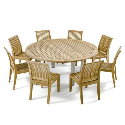 9 piece teak stainless steel dining set