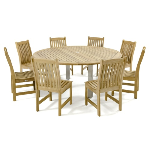 large outdoor teakwood round dining set for 8