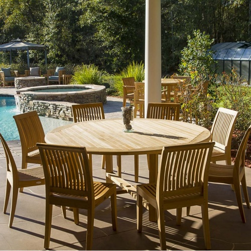 teakwood round dining sets outdoor