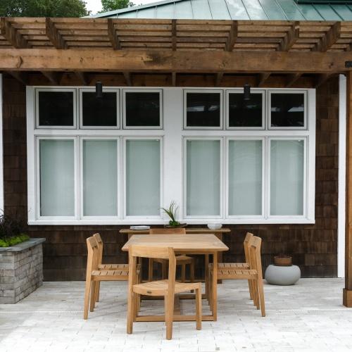teak extendable outdoor table adjustable 6 armchairs
