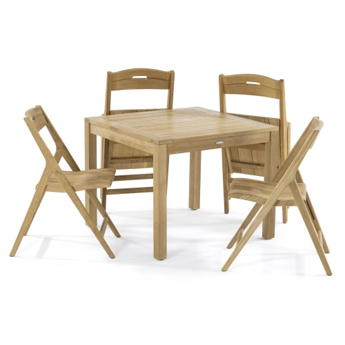 square teak wood table set 4