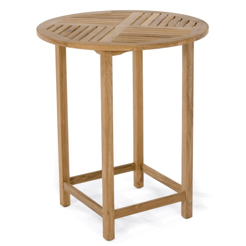 bar height round teak table