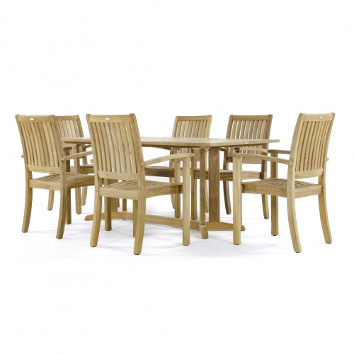 7 piece teak rectangular patio dining furniture set