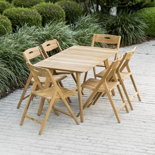 solid teak folding patio set