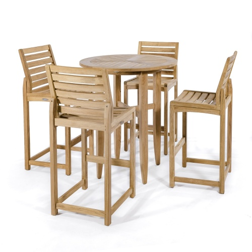 teak wood bar height patio set