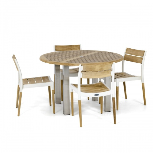 teakwood aluminum round dining set 4