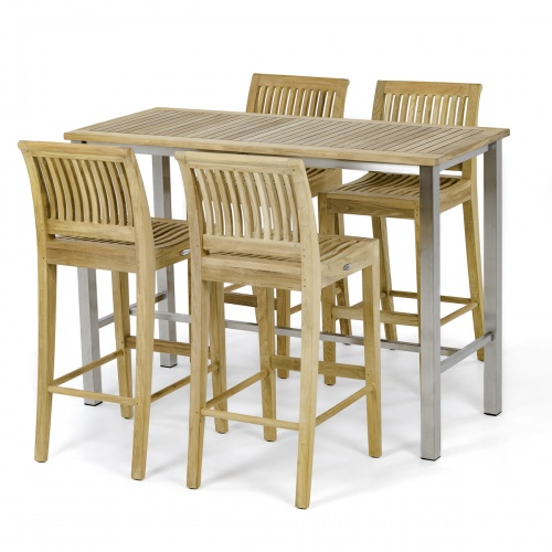 5pc teak and stainless steel bar set