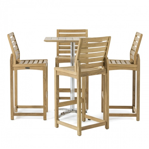 teak high bar table set for 4