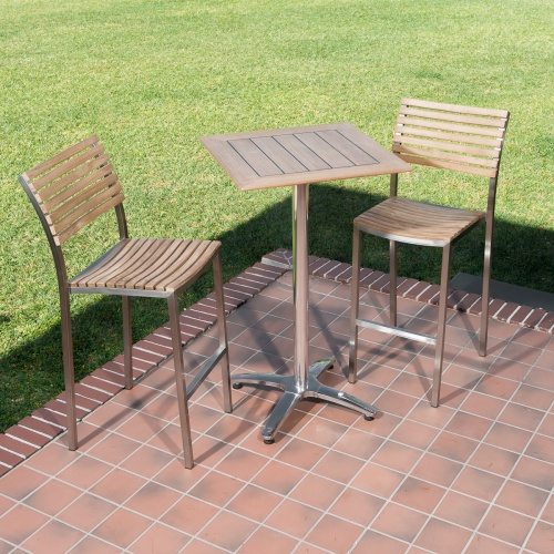 square teak wood patio bar set