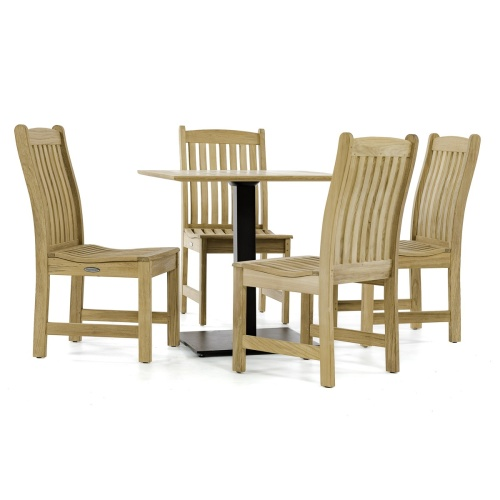 square wooden outdoor dining set for 4