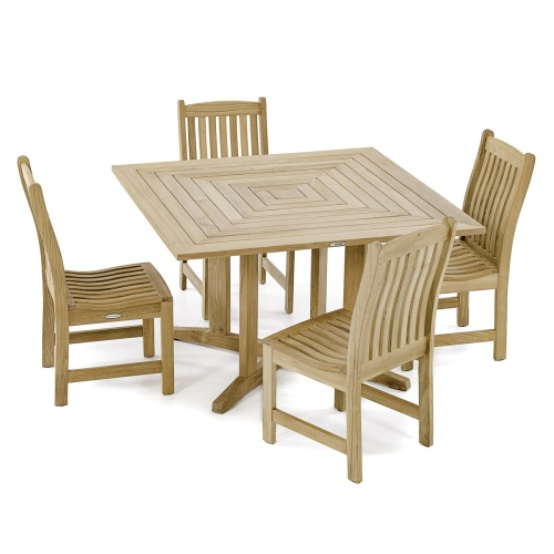 square teakwood dining set