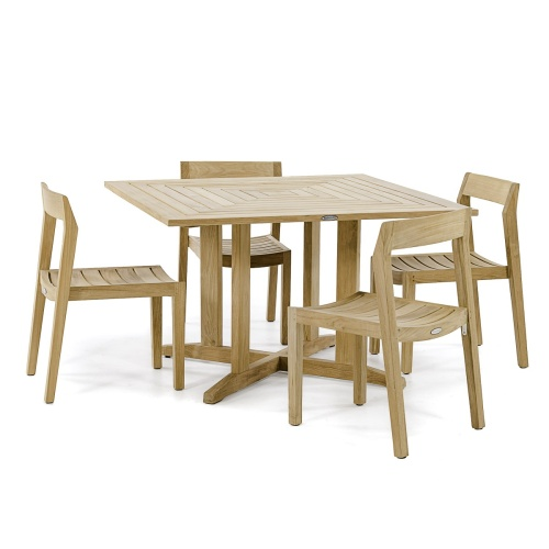 low back teakwood dining set 4
