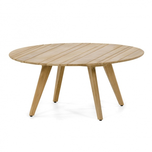 round teakwood coffee table