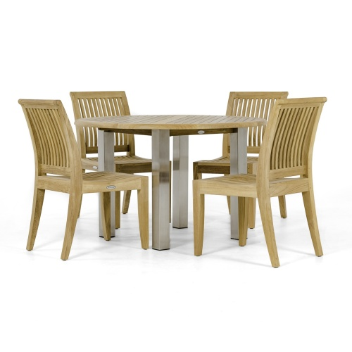 natural teakwood round patio dining set