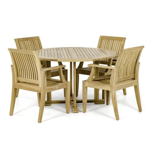 teakwood round indoor dining set