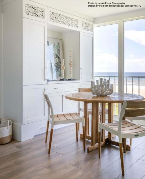 indoor round teak table set for 4