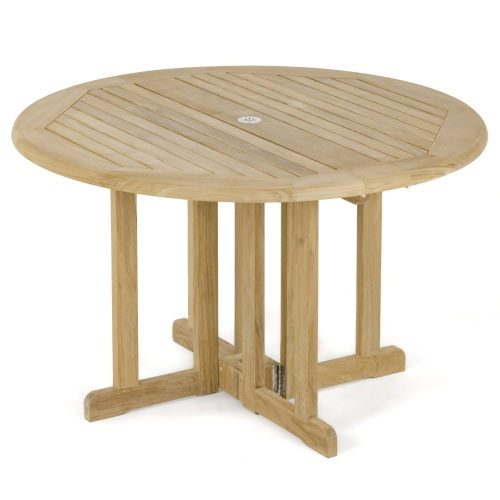 Round Teakwood Folding Patio Table