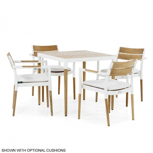 Teak White Outdoor Furniture Cast Aluminum