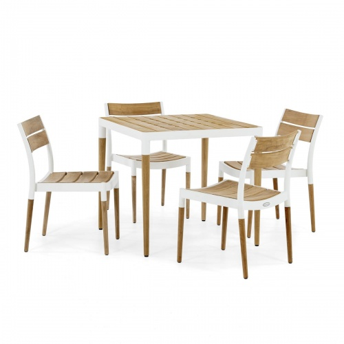 white outdoor teakwood dining set