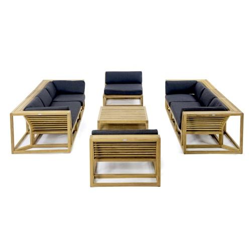 7 pc Twin Teak Sofa Set