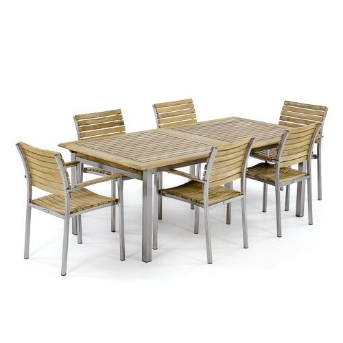 teak stainless steel dining room set