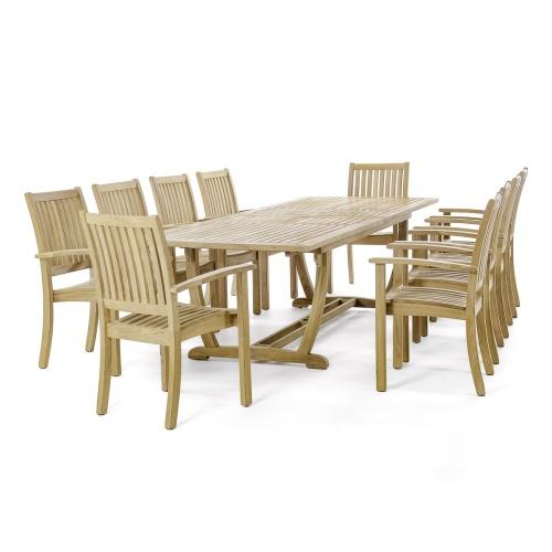 11 Pc Veranda Sussex Teak Dining Set Westminster Teak