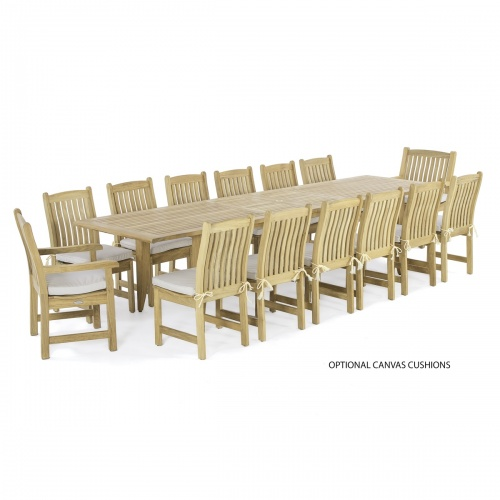 large teak dining furniture outdoors