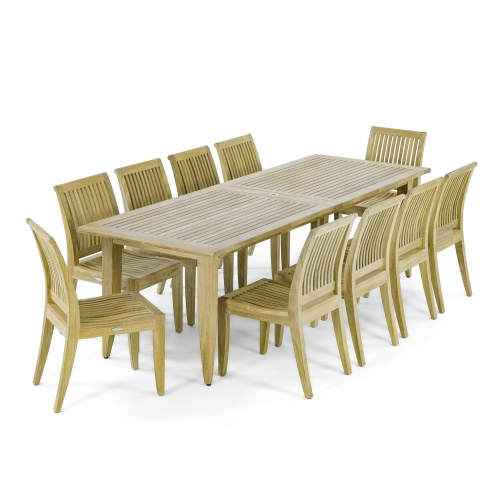 patio dining sets with teak tables