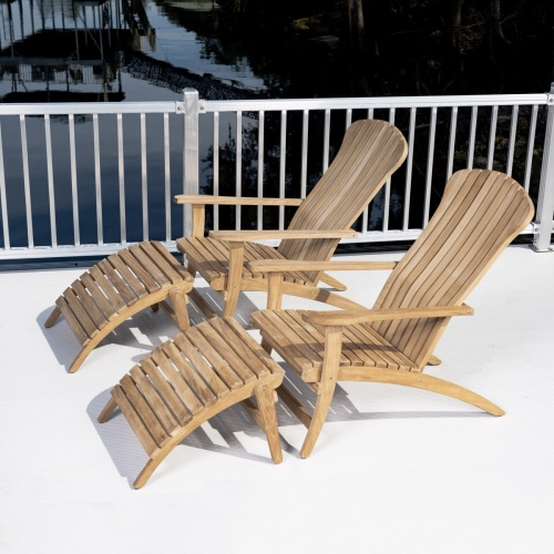 teak adirondack patio chair with footrest