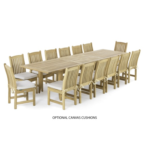 Grand Outdoor Teak Dining Set for 14