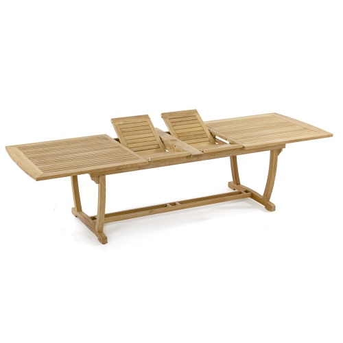 extendable outdoor patio teak dining table