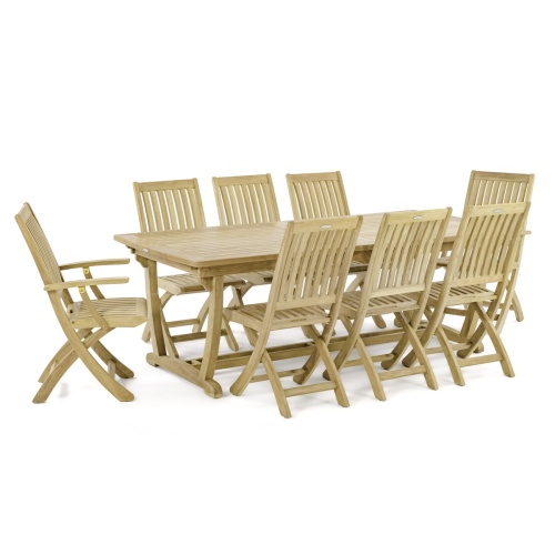 teak 9 piece outdoor dining set