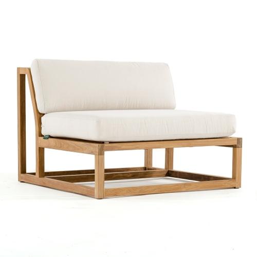teak armless slipper chair