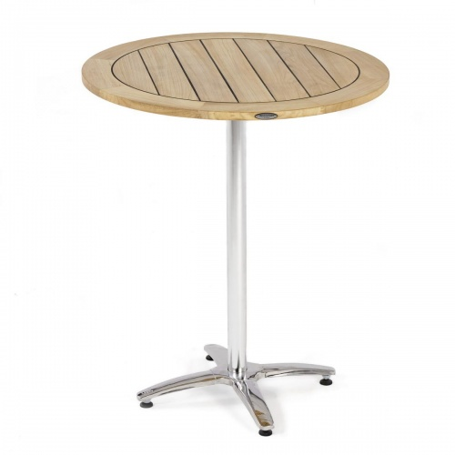 wooden bar stainless steel table