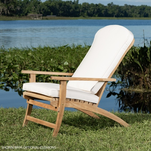 adirondack style teak chair and cushion