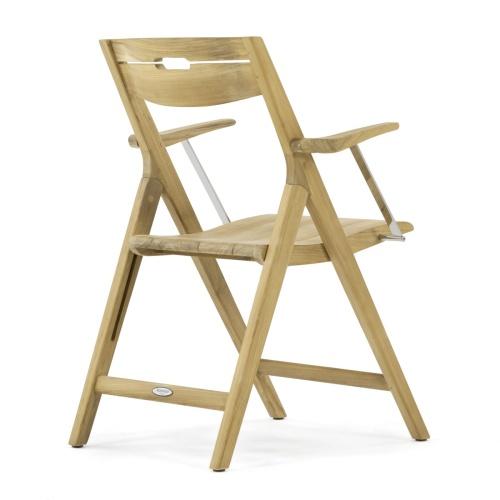 teak stainless steel folding armchair