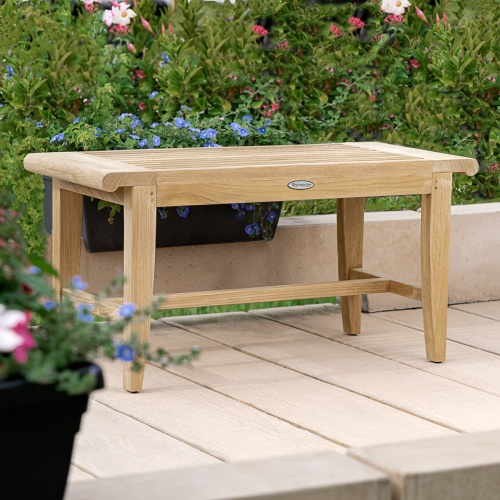 teak small backless bench for shower