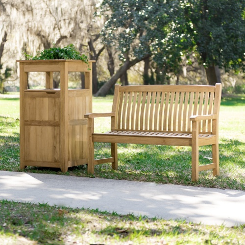 premium teak backless outdoor benches