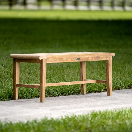 4 teak backless garden bench