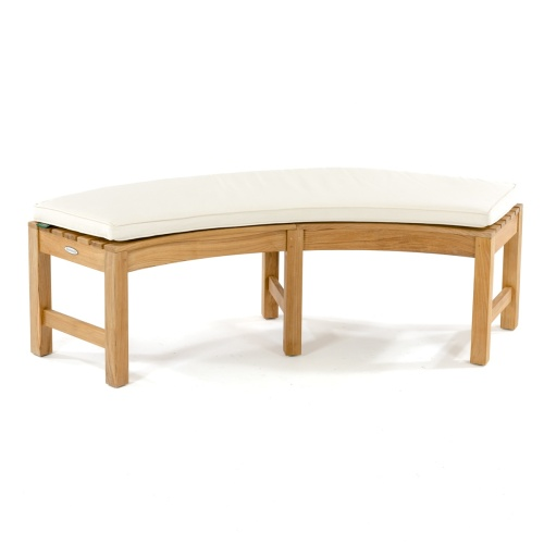 teak curved outdoor bench