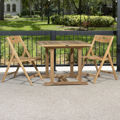 teak dinette table set for two