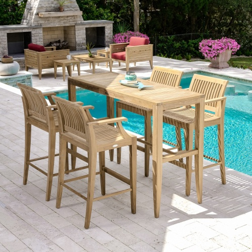 teakwood outdoor rectangular barset