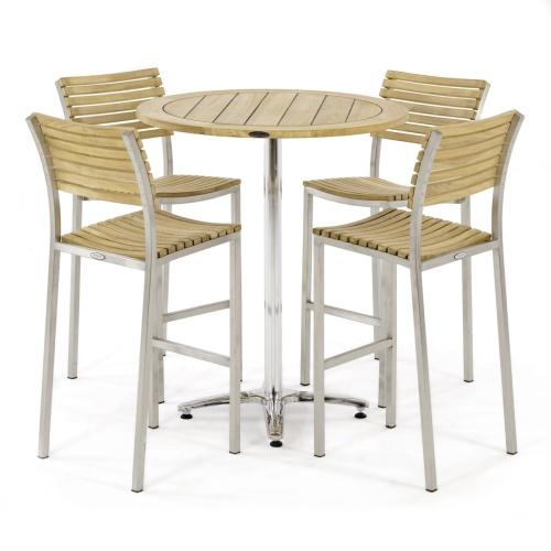 teak stainless steek round top bar sets