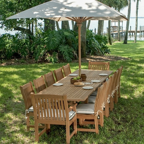 teak umbrella patio set