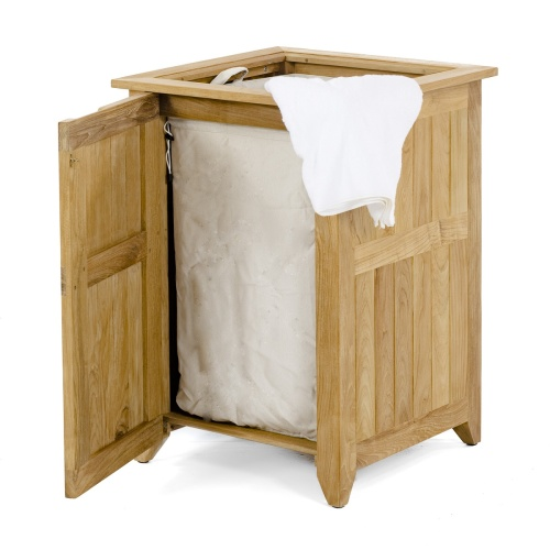 wooden laundry hamper