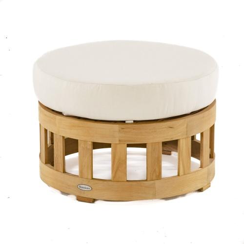 Round Wooden Ottoman