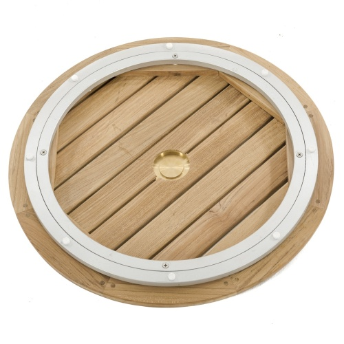 teak lazy susan with umbrella hole