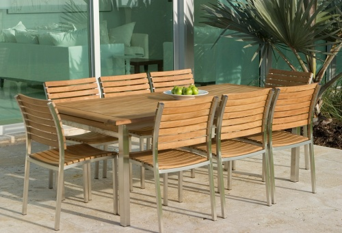 stainless steel and teak outdoor chairs