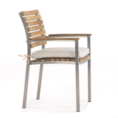 stackable teak and stainless Steel patio chairs